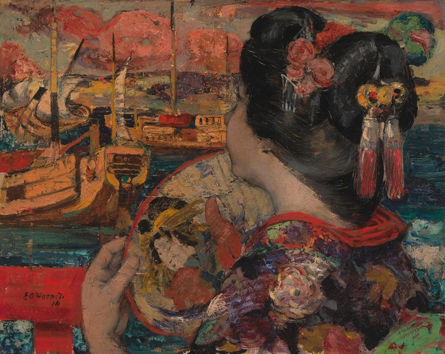 フリー絵画 エドワード・アトキンソン・ホーネル作「横浜、バルコニーにて」