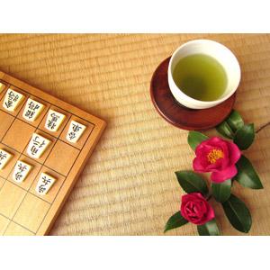 フリー写真, ゲーム, 将棋, 飲み物(飲料), お茶, 緑茶(日本茶), 花, 山茶花(サザンカ), 畳(タタミ)