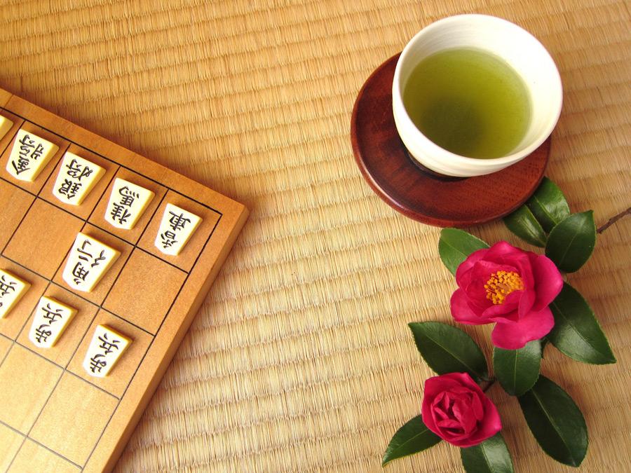 フリー写真 将棋と緑茶とさざんかの花