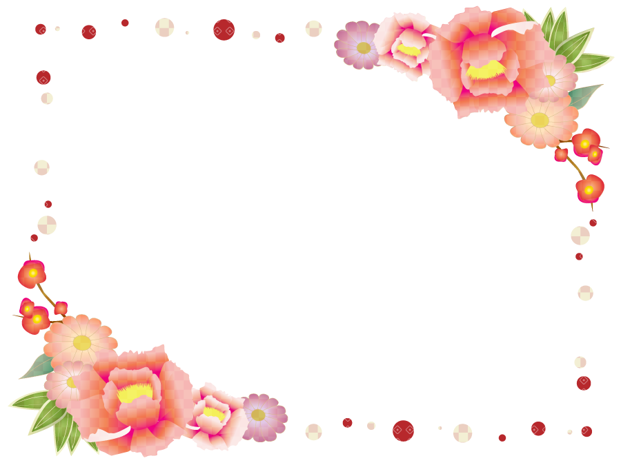 フリーイラスト 牡丹と梅の花の飾り枠
