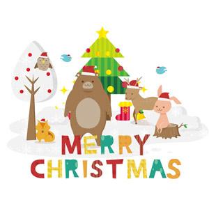 フリーイラスト, ベクター画像, AI, 背景, 年中行事, クリスマス, 12月, 冬, クリスマスツリー, メリークリスマス, 雪, 動物, 哺乳類, 熊(クマ), 鹿(シカ), 兎(ウサギ), 青い鳥, 梟(フクロウ), 栗鼠(リス)