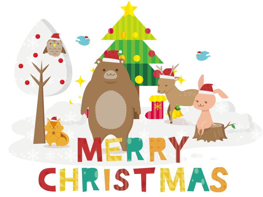 フリーイラスト 森の動物たちとクリスマス