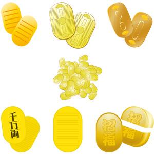 フリーイラスト, ベクター画像, AI, 小判, 金貨, 硬貨, お金, 江戸時代