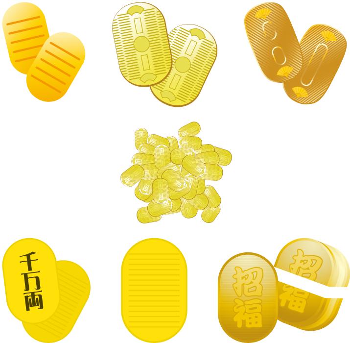 フリーイラスト 7種類の小判のセット
