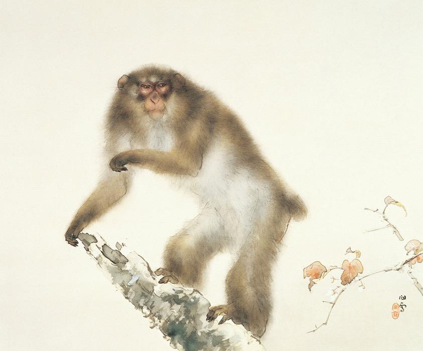 フリー絵画 橋本関雪作「秋桜老猿図」
