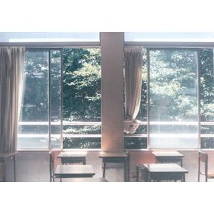 フリー写真, 風景, 学校, 教室, 勉強机, 太陽光(日光)