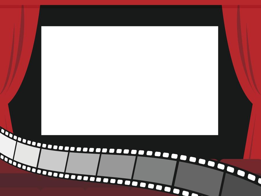 フリーイラスト 映画館と映画フィルムの背景