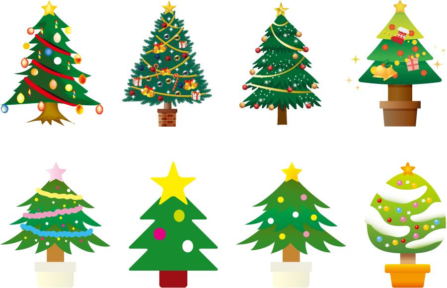 フリーイラスト 8種類のクリスマスツリーのセット