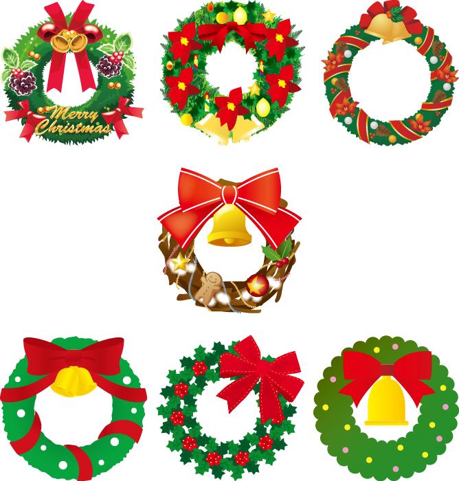 フリーイラスト 7種類のクリスマスリースのセット