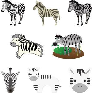 フリーイラスト, ベクター画像, AI, 動物, 哺乳類, 馬(ウマ), シマウマ, 動物の顔