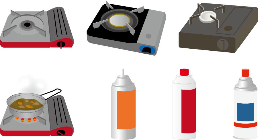フリーイラスト 7種類のカセットこんろとカセットボンベのセット
