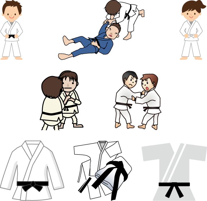 フリーイラスト 8種類の柔道と柔道着のセット