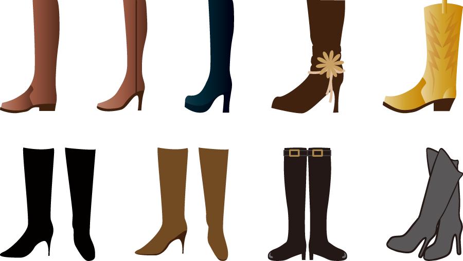 フリーイラスト 9種類のロングブーツのセット