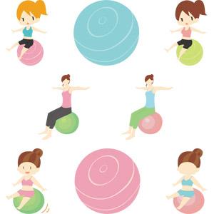 フリーイラスト, ベクター画像, AI, 人物, 女性, 運動, フィジカルトレーニング, バランスボール, ダイエット, 手を広げる