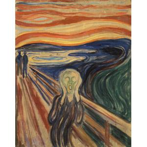 フリー絵画, エドヴァルド・ムンク, 人物画, 耳を塞ぐ, 怖い(恐い), 夕暮れ(夕方), 夕焼け, 橋, 河川