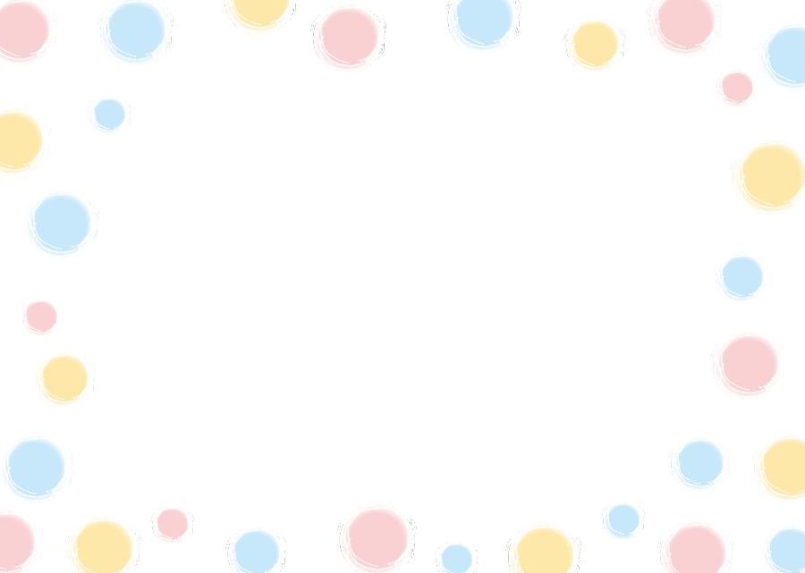 フリーイラスト パステルカラーの水玉模様の飾り枠
