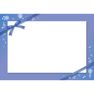 フリーイラスト, ベクター画像, EPS, 背景, フレーム, 囲みフレーム, メッセージカード, 音楽, リボン, 蝶リボン, 音符