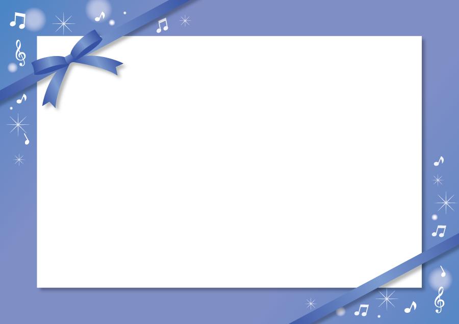 フリーイラスト 青いリボンと音楽のメッセージカード