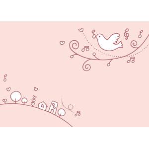 フリーイラスト, ベクター画像, EPS, 背景, 音楽, 音符, 街(町), 小鳥, ピンク色