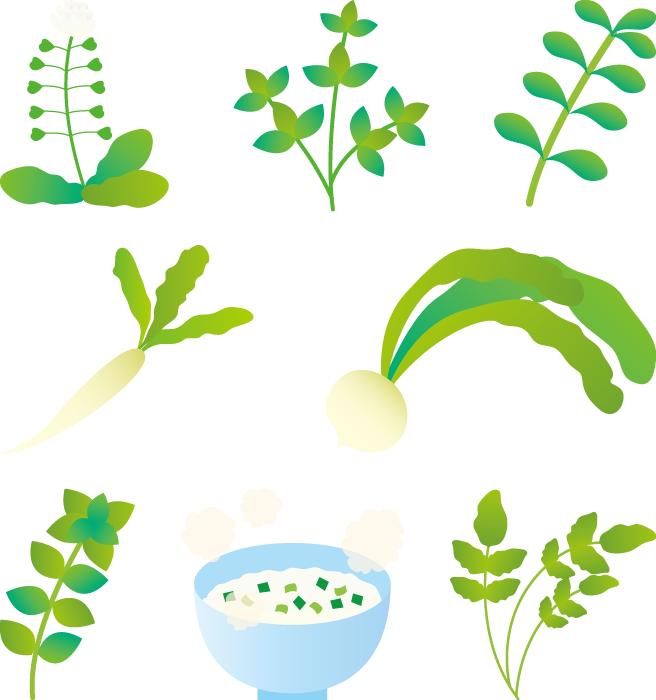 フリーイラスト 春の七草と七草がゆ