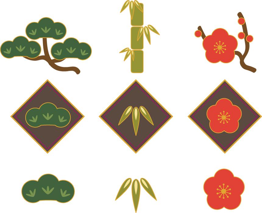 フリーイラスト 9種類の松竹梅のセット