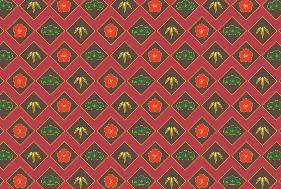 フリーイラスト 松竹梅の和柄の背景