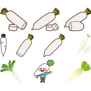 フリーイラスト, ベクター画像, AI, 食べ物(食料), 野菜, 大根(ダイコン)