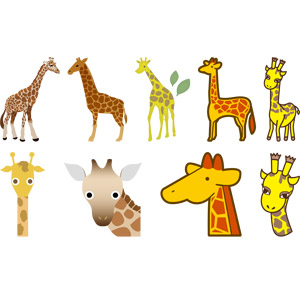 フリーイラスト, ベクター画像, AI, 動物, 哺乳類, キリン, 動物の顔