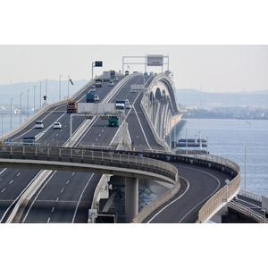 フリー写真, 風景, 建造物, 道路, 橋, 高速道路, 東京湾アクアライン, 自動車, 東京湾, 日本の風景