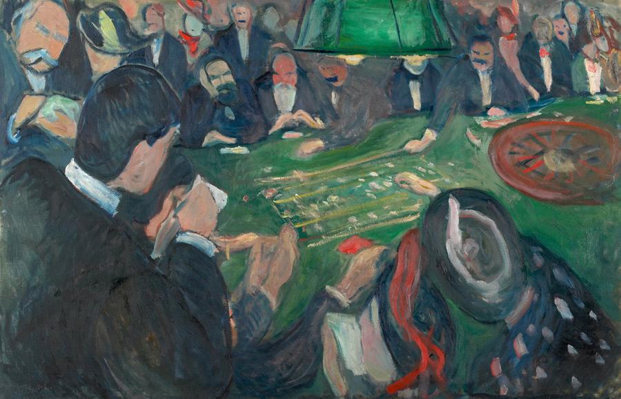 フリー絵画 エドヴァルド・ムンク作「モンテカルロのルーレット台にて」