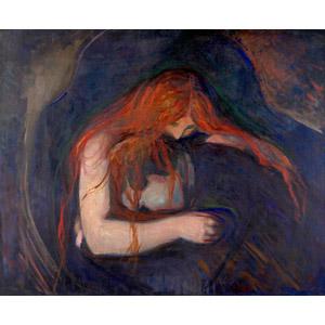 フリー絵画, エドヴァルド・ムンク, 吸血鬼(ヴァンパイア), 男性, 青ざめる, 噛みつく, 抱き合う, 怪物
