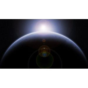 フリーイラスト, 宇宙, 天体, 惑星, 地球, 日の出, 太陽光(日光)