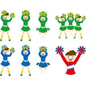 フリーイラスト, ベクター画像, AI, 人物, 女性, 少女, チアリーダー(チアガール), 踊る(ダンス), 応援する