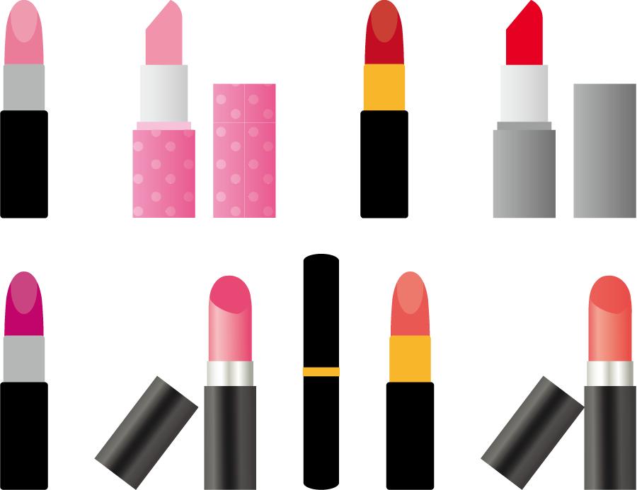 フリーイラスト 9種類の口紅のセット