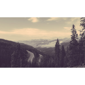 フリー写真, 風景, 山, 雲, 道路, 峠