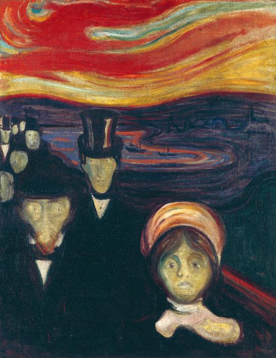 フリー絵画 エドヴァルド・ムンク作「不安」