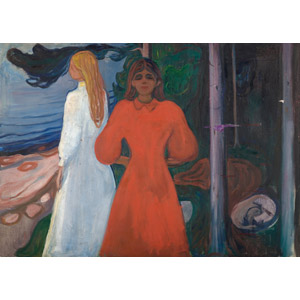 フリー絵画, エドヴァルド・ムンク, 人物画, 女性, 外国人女性, ドレス, 二人