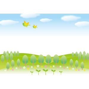 フリーイラスト, ベクター画像, AI, 風景, 自然, 新芽, 樹木, 青空, 小鳥, 丘