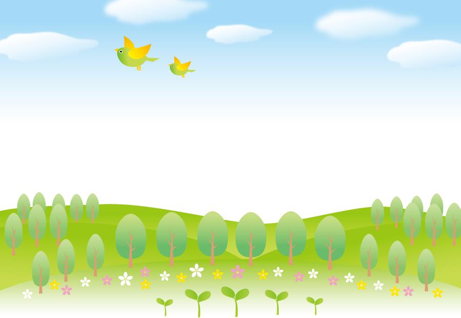 フリーイラスト 新芽と木々と小鳥の飛んでいる風景