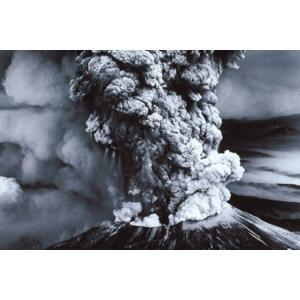 フリー写真, 風景, 自然, 災害, 自然災害, 噴火, 山, 火山, 煙(スモーク), モノクロ
