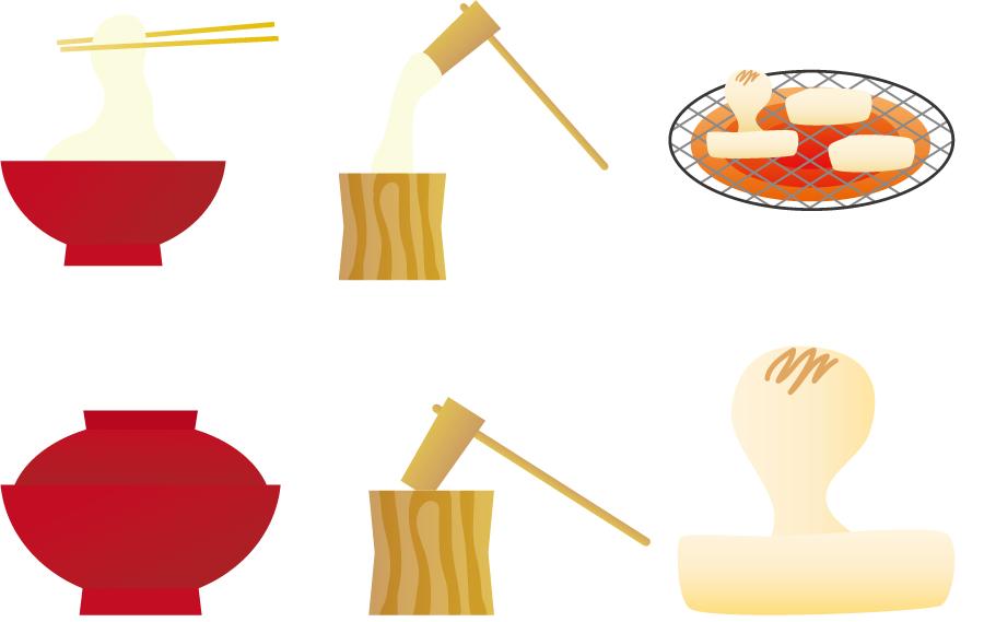 フリーイラスト お雑煮と餅つきと焼き餅の6種類のセット