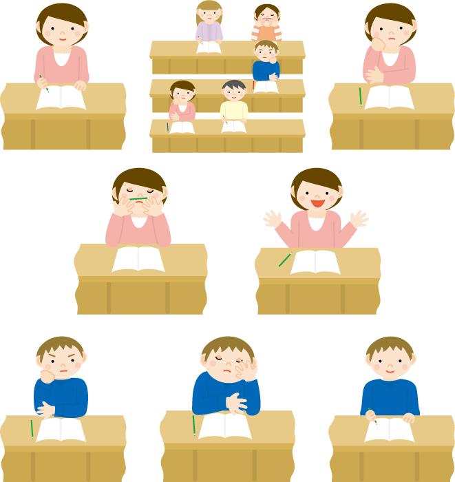 フリーイラスト 8種類の講義を聞く大学生のセット