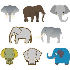 フリーイラスト, ベクター画像, AI, 動物, 哺乳類, 象(ゾウ), 動物の顔