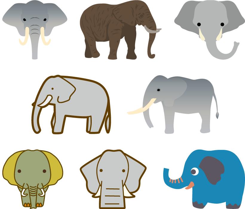 フリーイラスト 8種類の象のセット