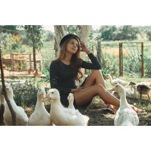 フリー写真, 人物, 女性, 外国人女性, 座る(地面), 人と動物, 動物, 鳥類, アヒル, 田舎