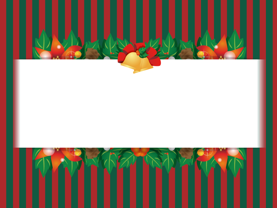 フリーイラスト ポインセチアとセイヨウヒイラギのクリスマスカード