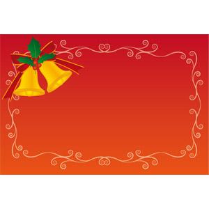 フリーイラスト, ベクター画像, EPS, 背景, フレーム, 囲みフレーム, 唐草模様, クリスマスベル, セイヨウヒイラギ, 年中行事, クリスマス, 12月, 赤色(レッド)