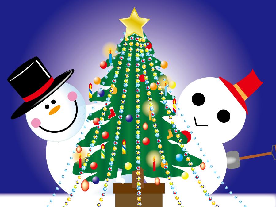 フリーイラスト 雪だるまとクリスマスツリーの背景