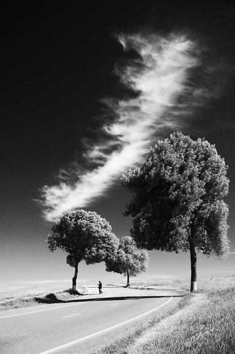 フリー写真 雲と道路を渡る人のいる景色