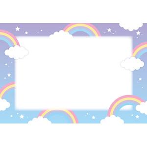 フリーイラスト, ベクター画像, AI, 背景, フレーム, 囲みフレーム, 虹, 雲, 星(スター)